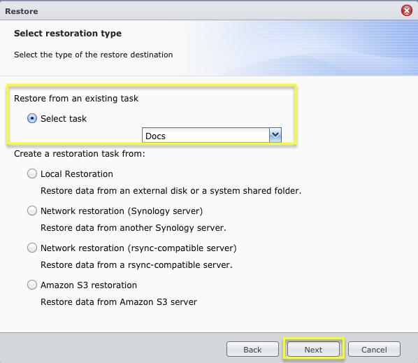 Restore a Backup - Synology Backup Service